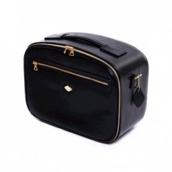 Beauty-case in nylon nera con rifiniture in pelle